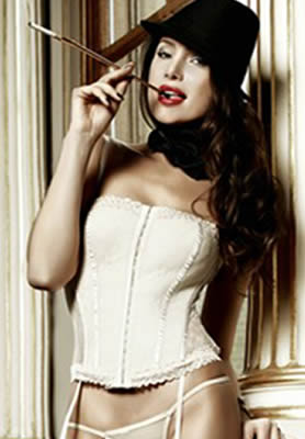Baci Lace and Mesh Bustier Cream