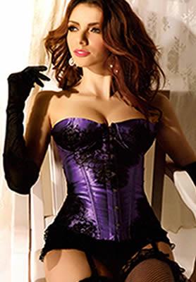 Purple Satin and Lace Corset